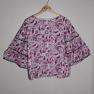 Loft Ann Taylor Med ruffle sleeve top pink floral